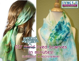 Scrunch-Dyed Scarves featured on www.livingfelt.com/blog