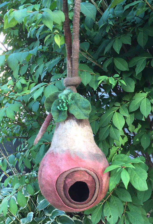 Wet Felted Bird Pod by Laura Ebert featured on www.livingfelt.com/blog