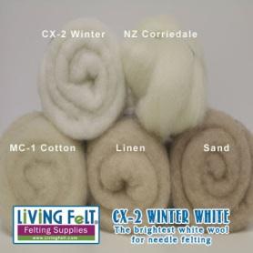 Winter white felting wool featured on www.livingfelt.com/blog