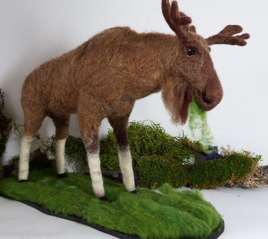 Felted Moose Sculpture by Jill Spady featured on www.livingfelt.com/blog