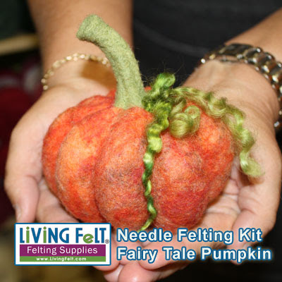 Needle Felted Pumpkin Kit featured on www.livingfelt.com/blog.