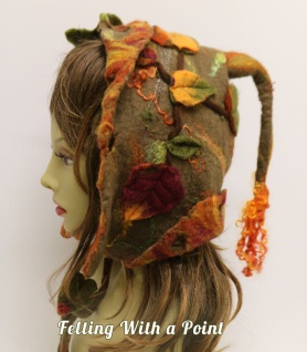 Wet Felted Fall Fairytale Hat by Judi Francis featured on www.livingfelt.com/blog