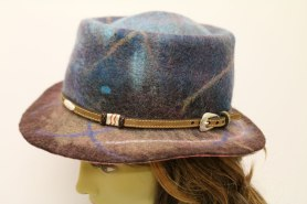 Felted Whalen Hat by Erin and Steve Whalen featured on www.livingfelt.com/blog. They used Merino Top in Bitter Chocolate, Tide pool, Mushroom, Atlantic, and Cornflower.