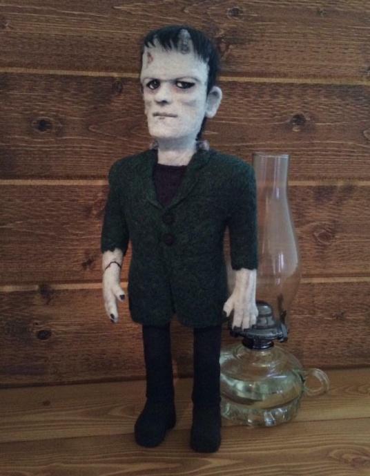 Felted Frankenstein by Cherie Davidson featured on www.livingfelt.com/blog