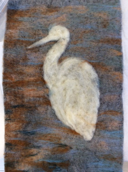 Needle Felted Heron by Sandra Atkins featured on www.livingfelt.com/blog