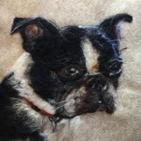 Boston Terrier Needle Felt Painting by Pauline Crouse featured on www.livingfelt.com/blog.