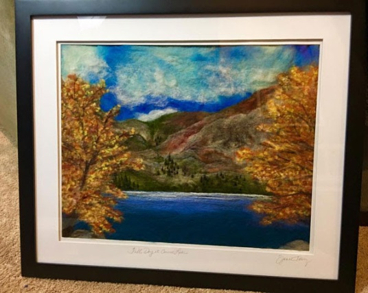 Needle Felt Lake Painting by Suzanne Cabrera Towry featured on www.livingfelt.com/blog