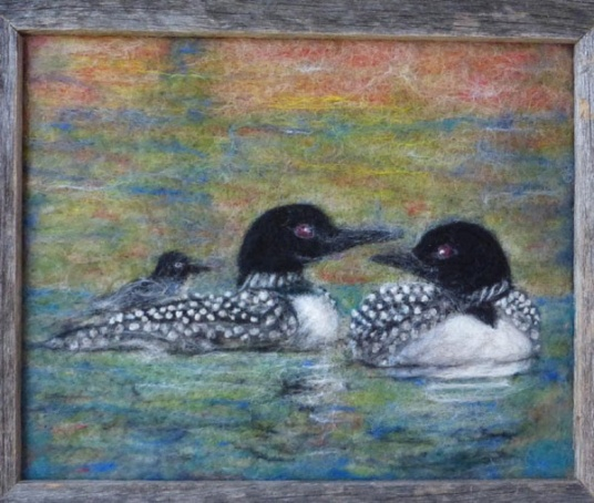Loon Family Needle Felt Painting by Marjorie Talacko featured on www.livingfelt.com/blog