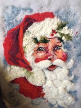 Santa Felt Painting by Gilda Hoffman Goodwin featured on www.livingfelt.com/blog