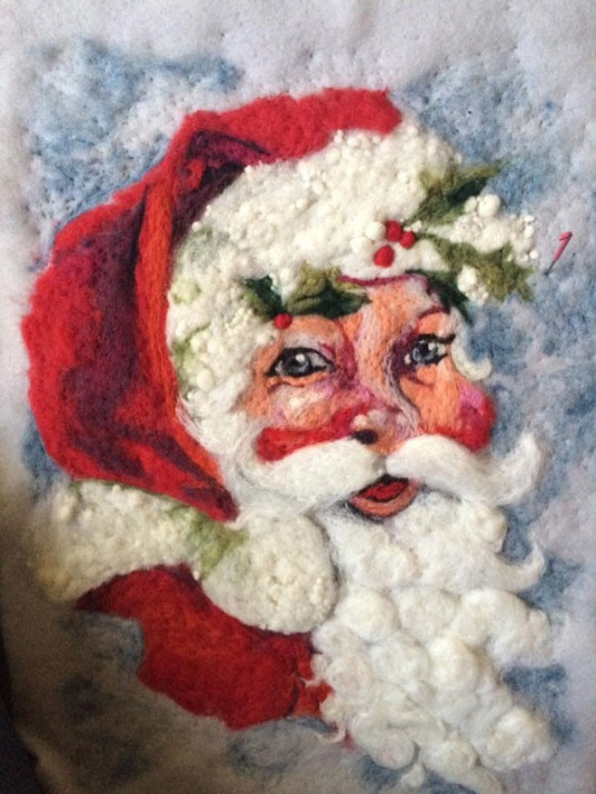 Santa Felt Painting by Gilda Hoffman Goodwin featured on www.livingfelt.com/blog