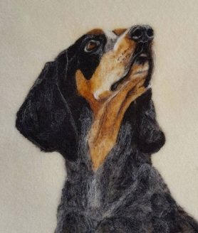 Felted Dog Portrait by Sonja Oswalt featured on www.livingfelt.com/blog