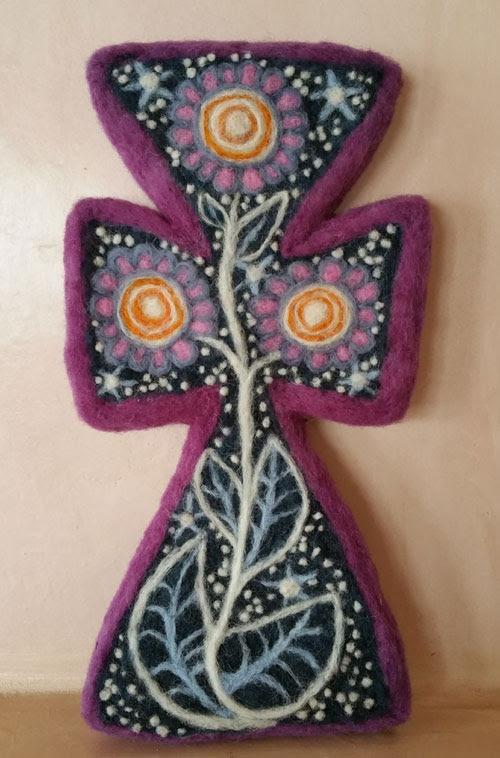 Needle Felted Mexican Cross Folk Art Art by Judy Chapman featured on www.livingfelt.com/blog
