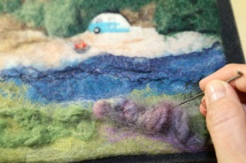 Wet & Needle Felted Picture by Marie Spaulding featured on www.livingfelt.com/blog.