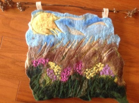 Needle Felted Wall Hanging by Carolyn Powers featured on www.livingfelt.com/blog