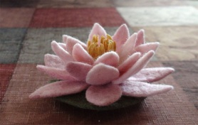 Needle Felted and Wet Felted Water Lily by Kathryn Missildine featured on www.livingfelt.com/blog