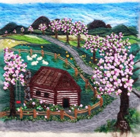 Country Scene Felt Painting by Judy Stodola featured on www.livingfelt.com/blog