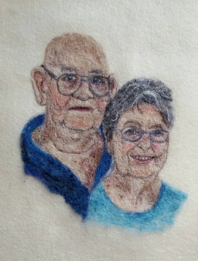 Felted Family Grandparents Portrait by Sonja Weeks Oswalt featured on www.livingfelt.com/blog