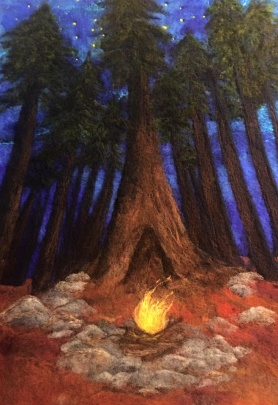 Felted Campfire Painting by Suzanne Cabrera Towry featured on www.livingfelt.com/blog