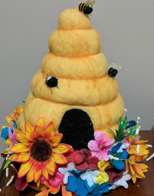Needle Felted Beehive Hat by Melanie C. featured on www.livingfelt.com/blog