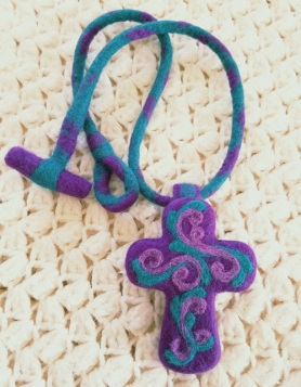 Needle Felted Cross by Sandy Wogaman featured on www.livingfelt.com/blog
