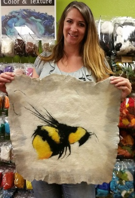 Wet Felted Bee by Deborah Loveless featured on www.livingfelt.com/blog