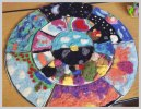 group mural project sponsored by Living Felt. Theme is Peace, work by middle school kids.