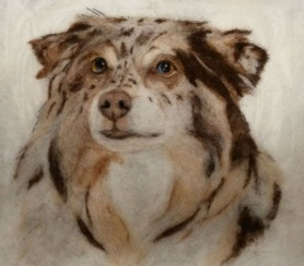 Felted Dog Pet Portrait by Doris Waschinski featured on www.livingfelt.com/blog