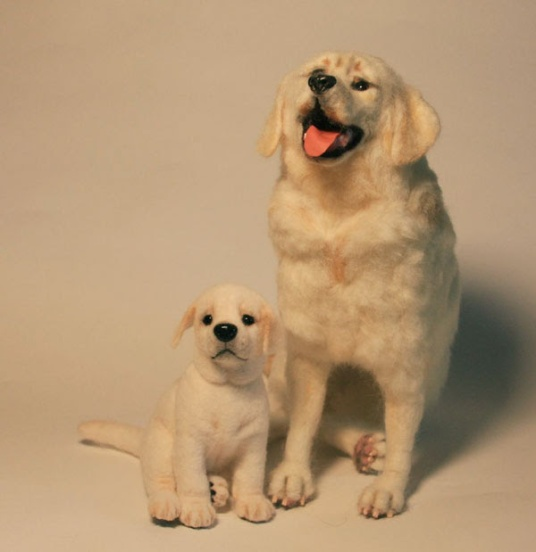 Felted Yellow Lab Dog and Puppy by Irene Clark featured on www.livingfelt.com/blog