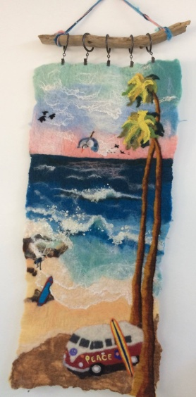 Needle and Wet Felted Beach Scene by Jan White featured on www.livingfelt.com/blog