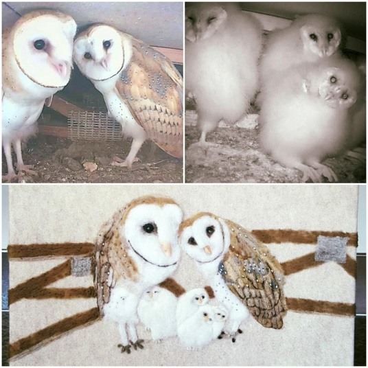 Felted Barn Owl Family Picture by Linda Brodersen featured on www.livingfelt.com/blog
