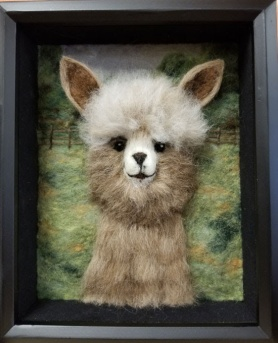 Needle Felted Alpaca Picture by Sandi Atkins featured on www.livingfelt.com/blog.