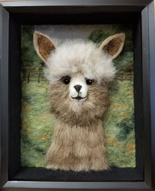 Needle Felted Alpaca Picture by Sandi Atkins featured on www.livingfelt.com/blog.