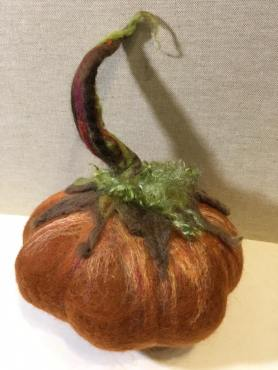 Wet Felted Fairytale Pumpkin by Anne Franklin featured on www.livingfelt.com/blog