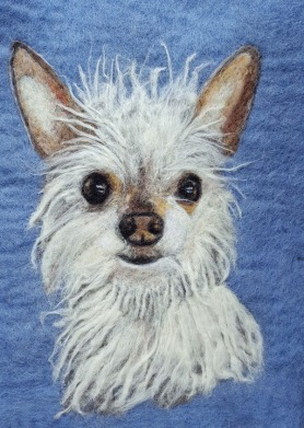 Felted Dog Portrait by Sonja Weeks Oswalt featured on www.livingfelt.com/blog