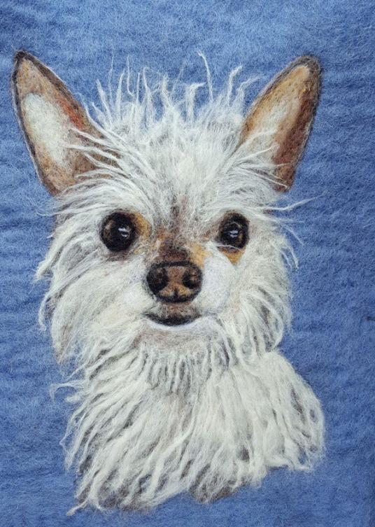 Felted Dog Portrait by Sonja Weeks Oswalt featured on www.livingfelt.com/blog