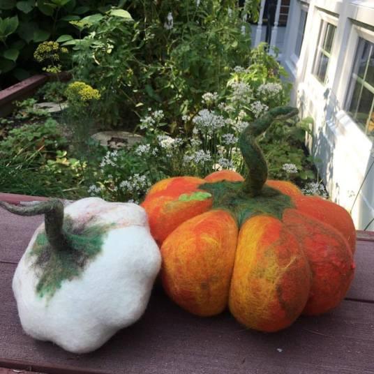 Wet Felted Fairytale Pumpkin by Laura Burke featured on www.livingfelt.com/blog