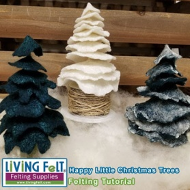 Wet Felted Christmas Trees Free Tutorial featured on www.livingfelt.com/blog