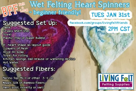 Wooly Wednesday Felted Heart BFF Felt-Along featured on www.livingfelt.com/blog