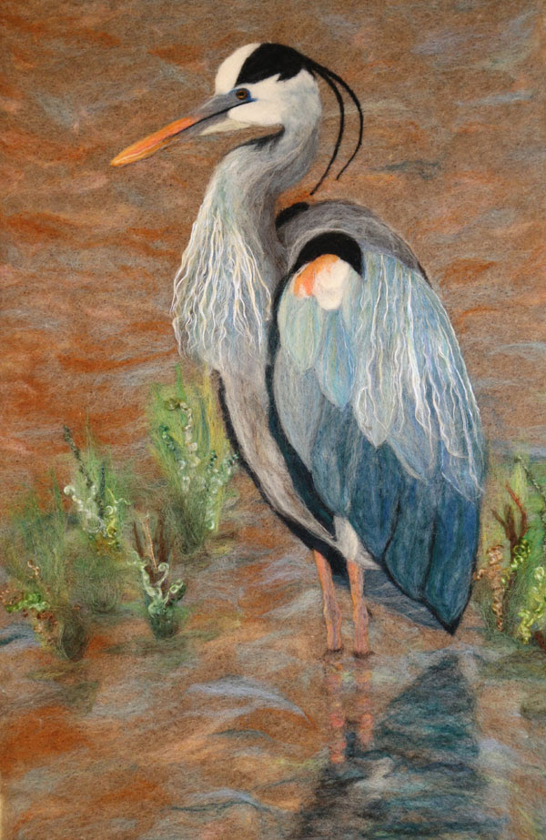 Felted Blue Heron by Sandra Atkins featured on www.livingfelt.com/blog