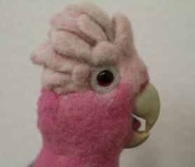Felted Galah Cockatoo by Gilda Hoffman Goodwin featured on www.livingfelt.com/blog