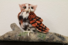 Felted Eastern Screech Owl by Sonja Oswalt featured on www.livingfelt.com/blog.