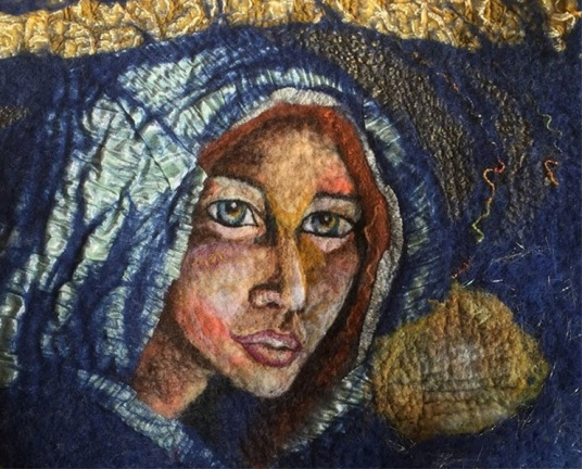 Felted Virgin Mary by Kimberly Pulli featured on www.livingfelt.com/blog