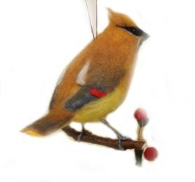 Felted Cedar Waxwing Bird by Karen Englebretson featured on www.livingfelt.com/blog