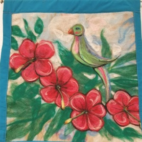 Felted Parakeet Wall Hanging by Sandi Kramer featured on www.livingfelt.com/blog