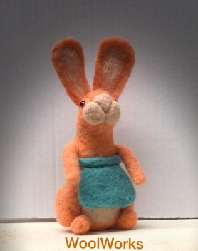Colorful Felted Bunny by JoAnn Stratakos featured on www.livingfelt.com/blog