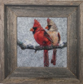 Felted Cardinal Wool Picture by Cherrie Hampton featured on www.livingfelt.com/blog