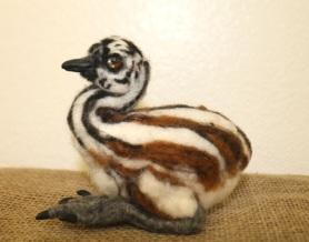 Felted Emu Chick Bird by Tammy Saulnier featured on www.livingfelt.com/blog