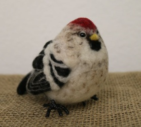 Felted Hoary Redpoll Bird by Jen Cookson featured on www.livingfelt.com/blog