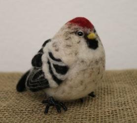 Felted Hoary Redpoll Bird by Jen Cookson featured on www.livingfelt.com/blog