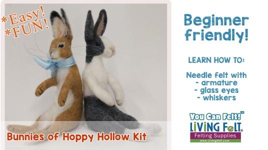 The Bunnies of Hoppy Hollow felt kit featured on www.livingfelt.com/blog